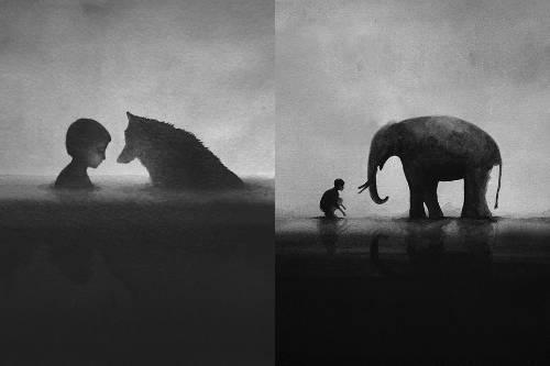 b2ap3_thumbnail_Elicia-Edijanto-dipinti-acquerelli-bianco-nero-rapporto-bambini-animali-natura-08.jpg
