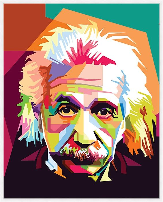 Giclee Colorblock Einstein Wall Art, Multi.jpe