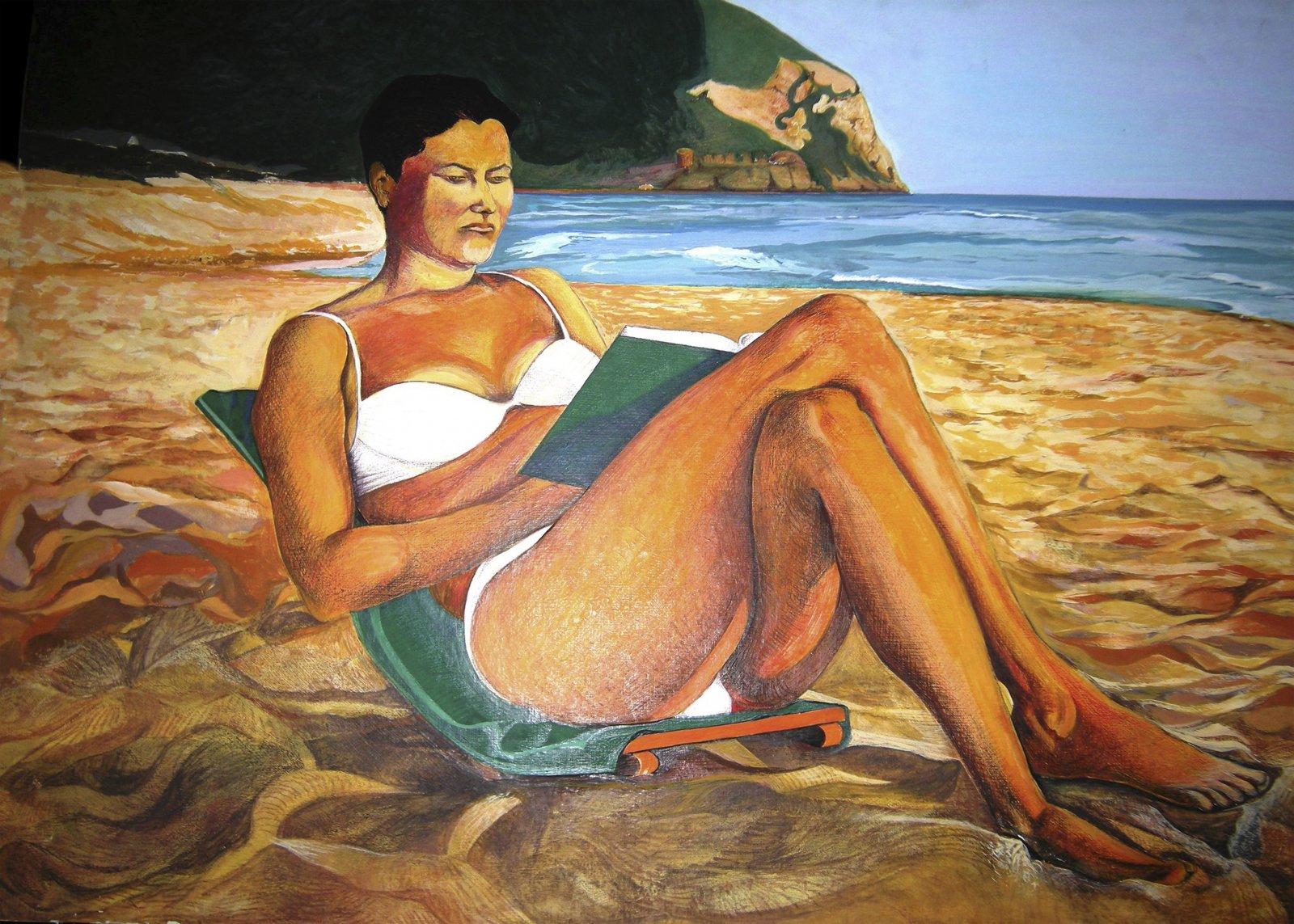 Lettura sulla spiaggia 1989 olio su cartone telato cm 50 x 70